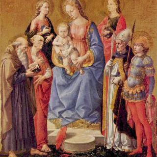 마리아와 아기 예수 및 여섯 명의 성인들