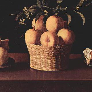 레몬이 놓인 접시, 오렌지가 놓인 바구니, 장미가 놓인 찻잔