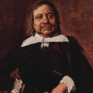 오른손을 허리에 짚고 왼손으로 장갑을 쥐고 있는, 뾰족한 옷깃을 한 남자의 초상