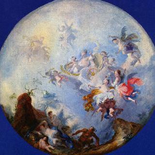 주피터와 안티오페 (둥근 천장에 그릴 프레스코화 초안)