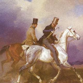 화가를 동반하여 말을 타고 나가는 프로이센 왕자 빌헬름 1세