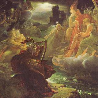 로라 강 기슭에서 하프 선율로 신들을 불러내는 오시안