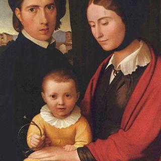 부인과 아들 알폰스와 함께 있는 화가의 자화상