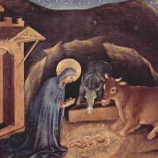 동방박사의 경배, 제단장식대 왼쪽 패널 : 그리스도의 탄생