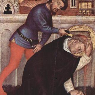마리아의 대관식, 벽공벽 그림, 왼쪽 안쪽 패널 : 순교자 성 베드로의 순교