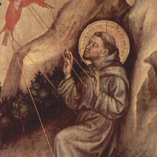 마리아의 대관식, 벽공벽 그림, 오른쪽 바깥 패널 : 성흔 인각
