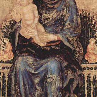 왕좌에 앉아 있는 성모와 음악을 연주하는 천사들