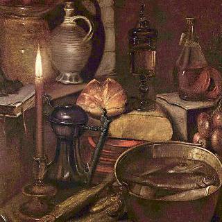촛불빛에 비추인 식료품 저장실