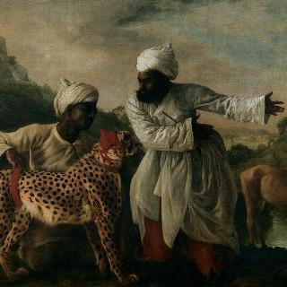 인도인 하인 두 명과 사슴과 함께 있는 치타