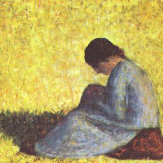 풀밭에 앉아 있는 시골처녀