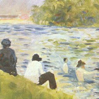 강물속의 물놀이하는 사람들과 하얀 말