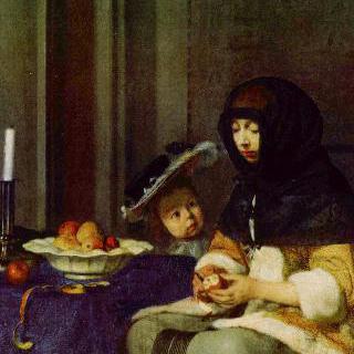 사과 깎는 여인