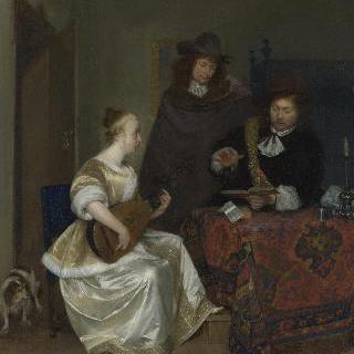 테오르보를 연주하는 젊은 여인과 두 남자