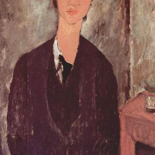 탁자 앞에 앉아 있는 섕 수틴의 초상