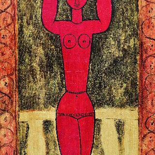붉은 여인상 기둥(앞면)