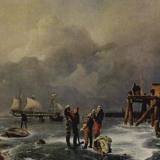 결빙된 바닷가 (겨울 풍경)
