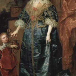 난쟁이 제프리 허드슨 경과 함께 있는 헨리에타 마리아 왕비의 초상
