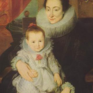 아이와 함께 있는 얀 보베리우스의 부인 마리 클라리스의 초상
