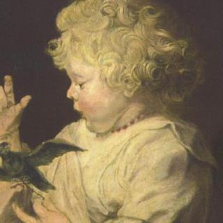 새와 함께 있는 아이의 초상