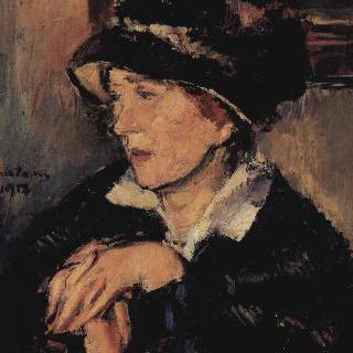 어두운 빛깔의 모자를 쓴 여인의 초상