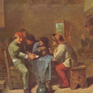 술집에서 카드놀이 하고 있는 농부들