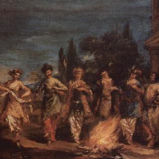 불 앞에서 춤추는 세 쌍의 터키 남녀