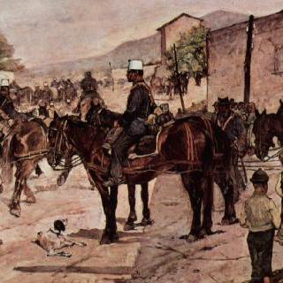 시골 마을 길의 말 탄 포병대