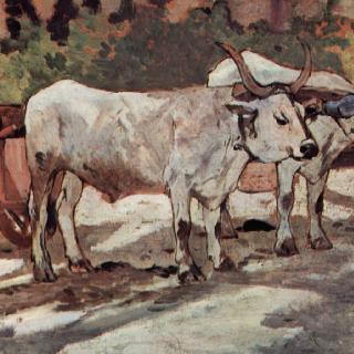 황소가 끄는 수레와 함께 있는 농부