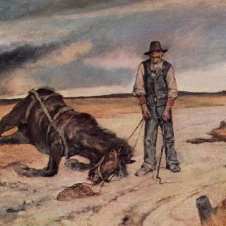쓰러진 말과 함께 있는 농부