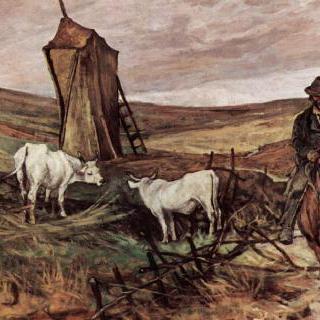 말 탄 목동과 소들