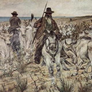 황소떼를 모는 세 명의 말 탄 목동