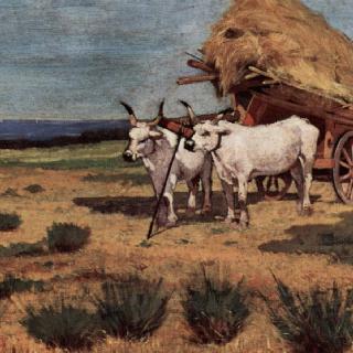 농부들과 수레 끄는 황소들이 있는 마렘마의 휴식 풍경