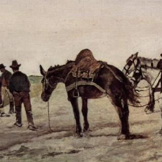 말과 농부들이 있는 로마 풍경