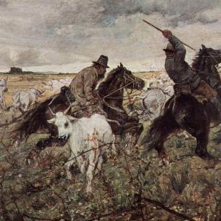 황소떼를 모는 두 명의 말 탄 목동