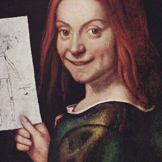 스케치를 들고 있는 소년 이미지