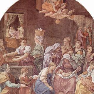 수태고지 예배당의 입구에 그려진 프레스코 벽화 : 마리아의 탄생