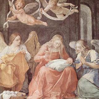 수태고지 예배당의 왼쪽 벽에 그려진 프레스코화 : 바느질하는 성모 마리아와 천사들