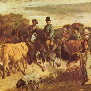 시장에서 돌아오는 플라지의 농부들
