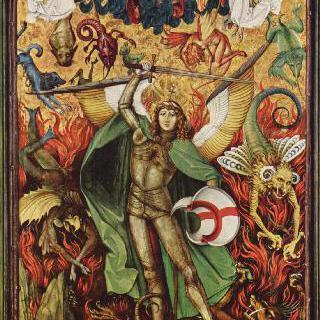지옥 추락, 루시퍼와 싸우는 대천사 미카엘