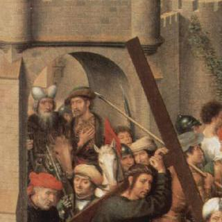 뤼벡 대성당에 있던 세 폭 제단화, 왼쪽 날개 : 십자가를 지고 가는 그리스도