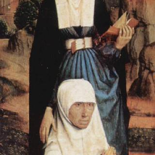 성인과 함께 기도하는 기부자의 부인