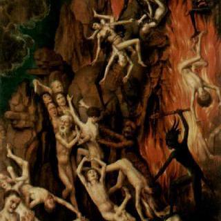최후의 심판, 세 폭 제단화, 오른쪽 날개 (안쪽) : 지옥으로 던져지는 저주받은 자들