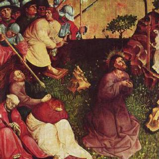 그리스도 수난 제단화, 왼쪽 안쪽 날개의 상단 : 감람산의 그리스도