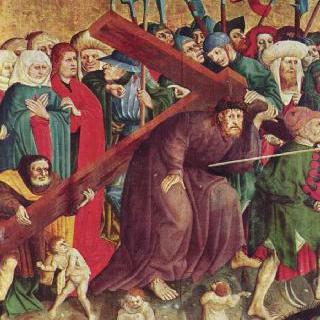 그리스도 수난 제단화, 왼쪽 안쪽 날개의 하단 : 십자가를 지고 가는 그리스도