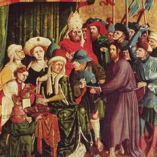 그리스도 수난 제단화, 오른쪽 안쪽 날개의 상단 : 빌라도 앞의 그리스도