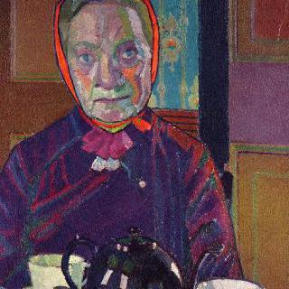 아침상 앞에 앉은 마운터 부인의 초상