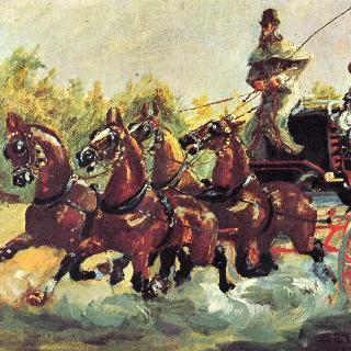 4두 마차를 모는 알퐁스 드 툴루즈-로트렉 백작