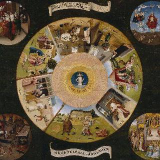 7가지 죄악과 사말 (四末 : 임종, 최후의 심판, 천당, 지옥)의 장면들이 그려진 탁자