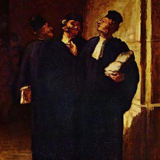 이야기를 나누는 세 명의 변호사