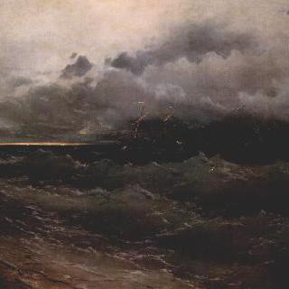 폭풍 치는 바다의 배, 일출